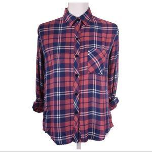 RAILS Rust Indigo White Plaid Shirt Size XS